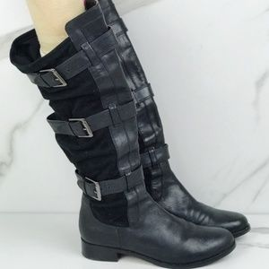 Cole Haan Nike Air Black Leather Buckle Boots 7.5